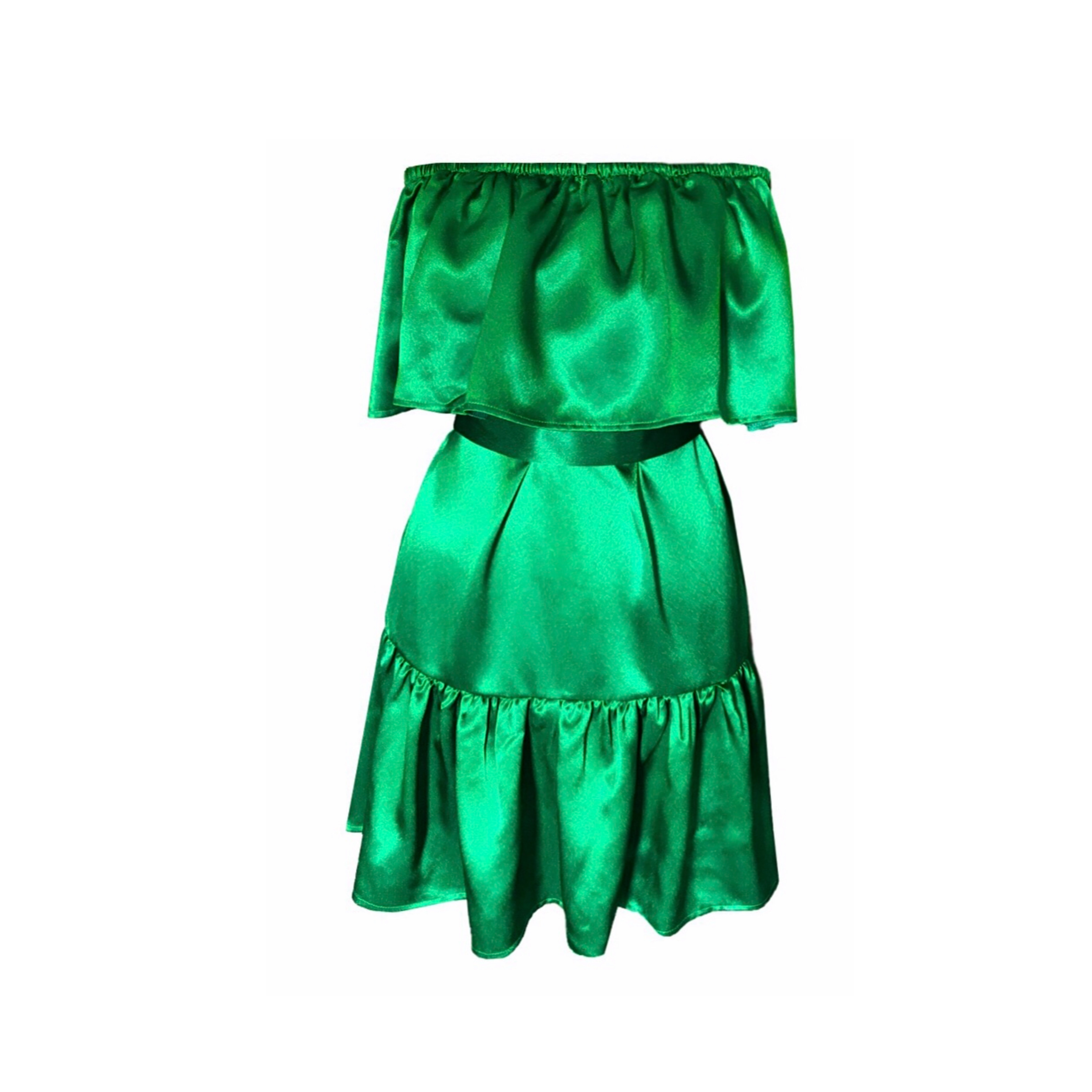 DIDEMΛYDIN Saten Yeşil Kısa Boy Elbise