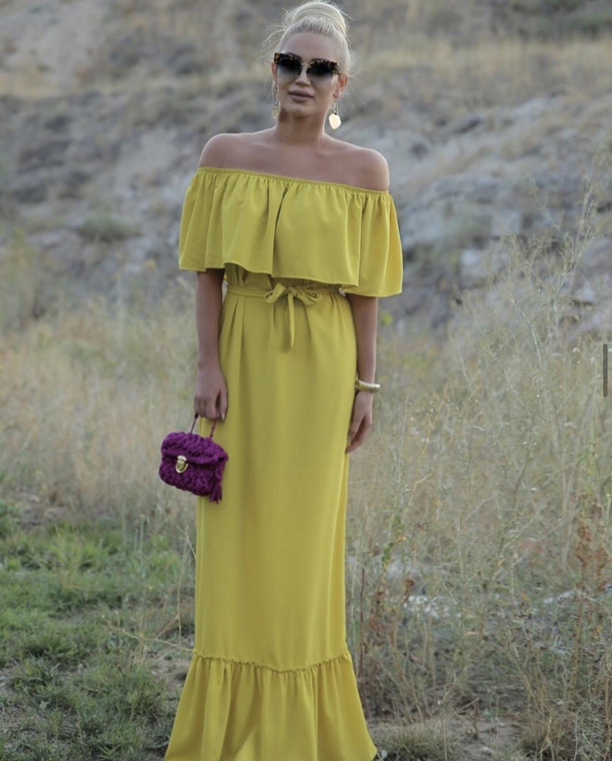 DIDEMΛYDIN Limon Yeşili Uzun Elbise